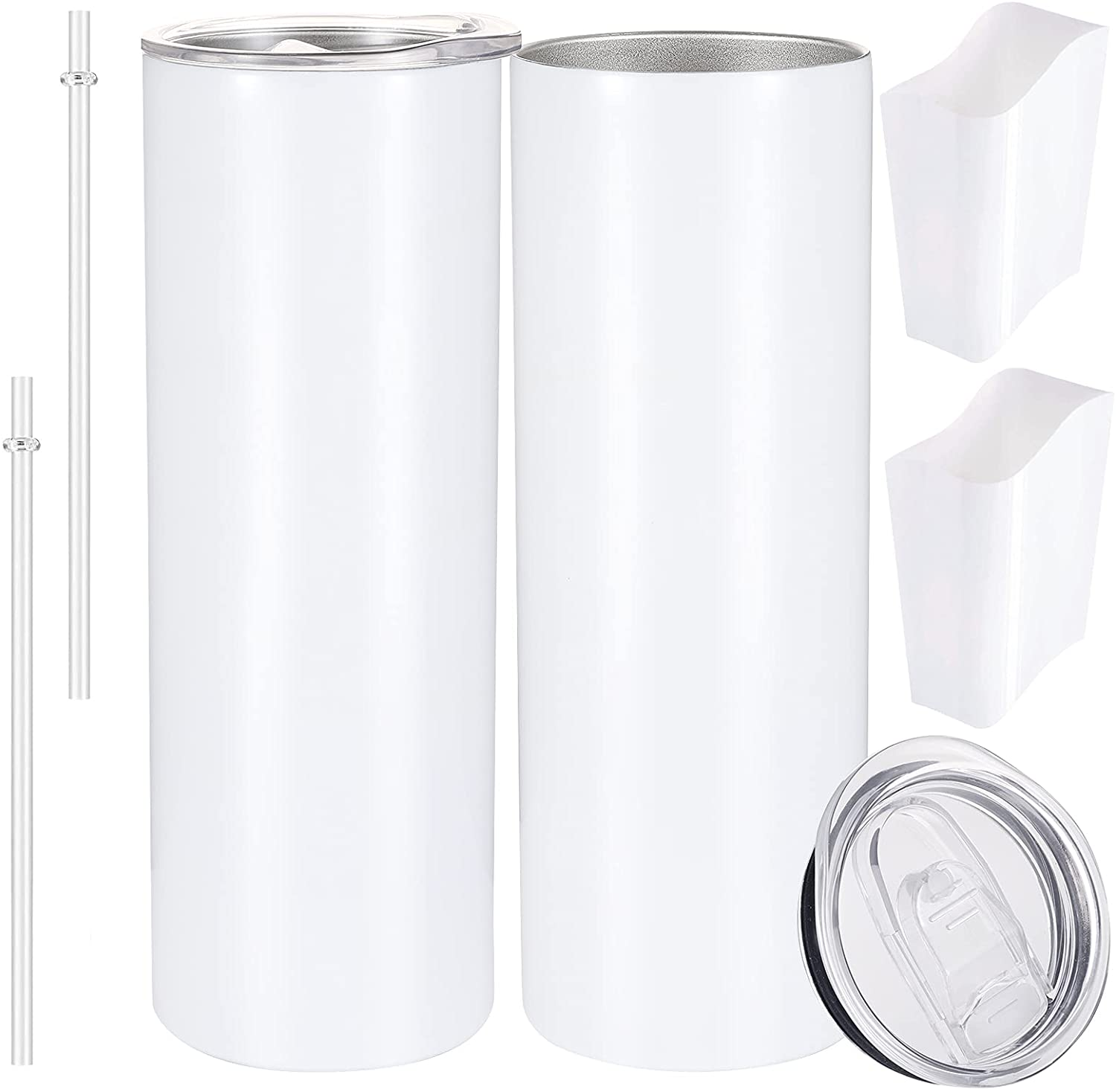 20oz Sublimation White Straight Max 80% OFF Blanks with 1 year warranty Straw Skinny Tumbler