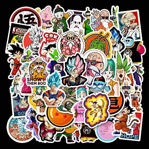 Dragon Ball Anime Pegatinas Super Saiyan Goku para el ordenador portátil bolsas de equipaje bicicleta teléfono monopatín coche pvc creativo DIY pegatinas 50 unids