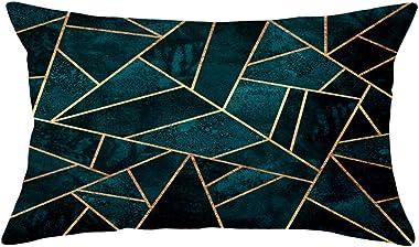 Hengjiang Housse de coussin en peluche douce avec impression recto verso avec motif géométrique, 30 x 50 cm - Noir, Vert, Ble