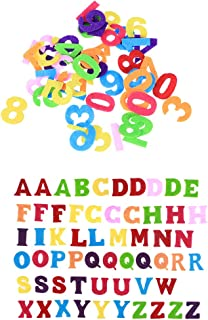 STOBOK Letter Number Toys Assorted Bright Colors Preschool Learning Spelling Toy Felts DIY Craft Toddler Learning Alphabet Numbers and Shapes 100 in 1 (Mixed Color and Number)