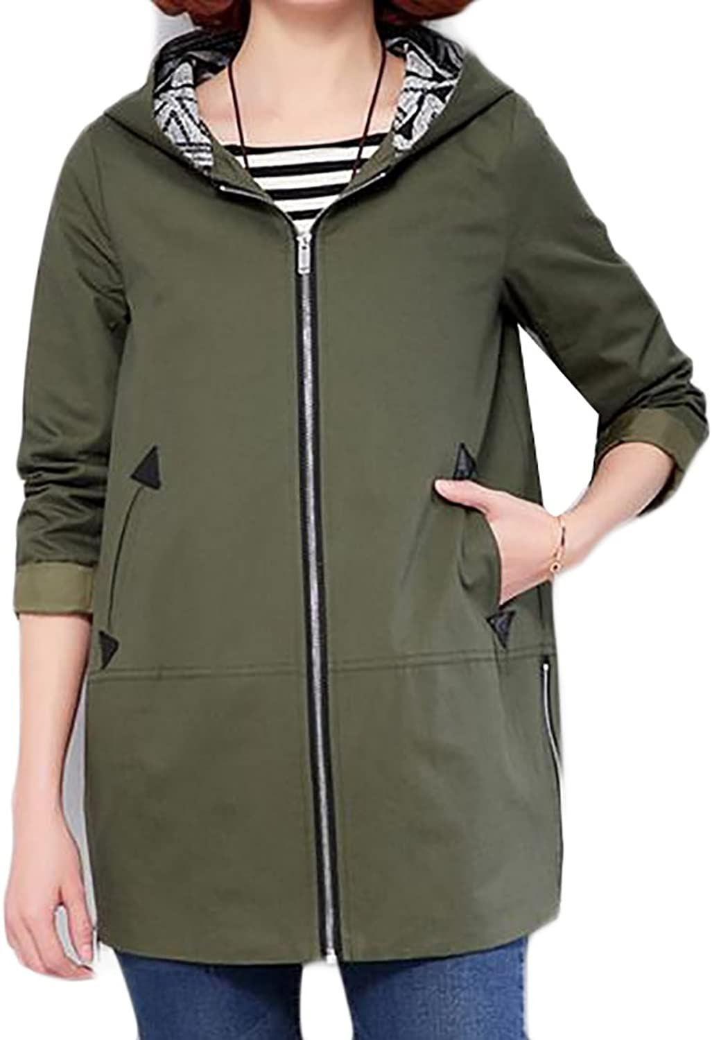Fulok Womens Casual Zipperfront Loose Fit Splice Hooded Trench Coats