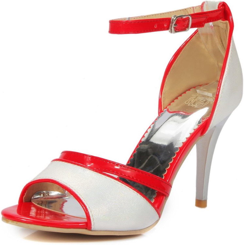 AmoonyFashion Women's Buckle Open Toe Spikes Stilettos Pu Assorted color Sandals