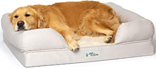 """PetFusion Large Dog Bed w/Solid 4"""" Memory Foam, Waterproof Liner, YKK Premium Zippers. [Sandstone, 36x28x9 - Sized for Med..."""
