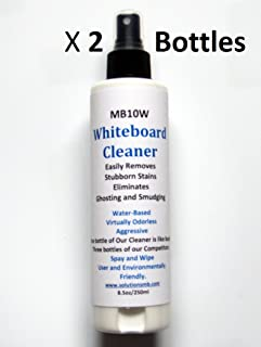 MB10W Whiteboard Cleaner (2 Pack) Spray 8 Ounces, Removes and Prevents Ghosting and Smudging from Dry Erase Boards, Liquid Chalk Markers - Safe & Non-Toxic, 100% Made in North America by