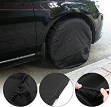Qiilu 4pcs 32 Inch Wheel Tire Covers for RV Truck Car Camper Trailer, Professional Wheel Protective Covers Black