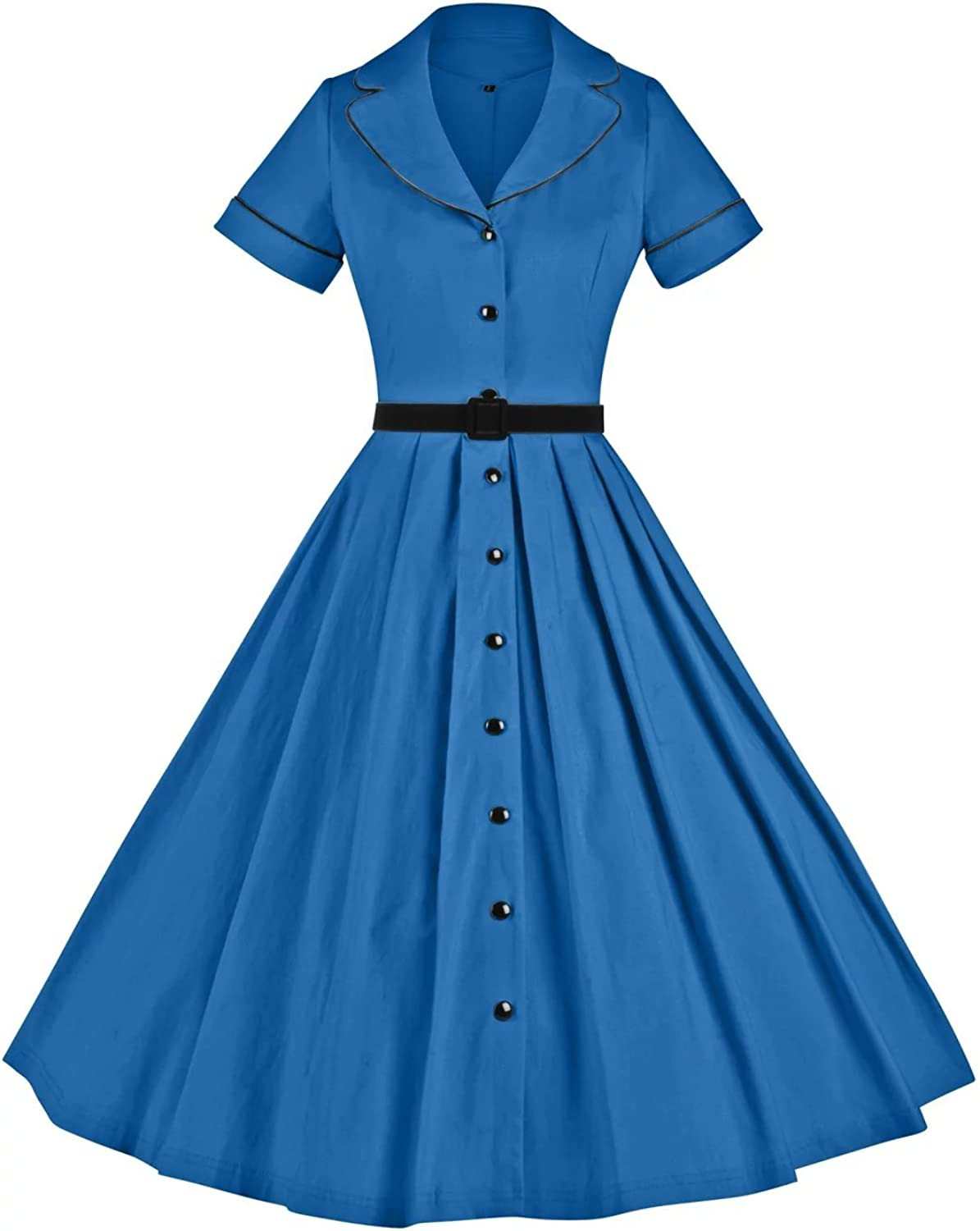 GownTown Women's 1950sVintage Classical Casual Swing Aline Dress