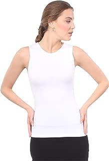 Women's Modest Sleeveless Undershirt - Full Shoulder High Neck Layering Shell