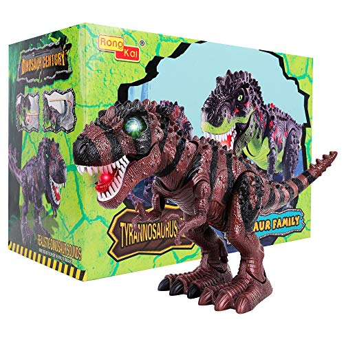 FiGoal Electronic Walking Dinosaur with LED Light, Realistic T-Rex Dinosaur Toy with Light Up,...