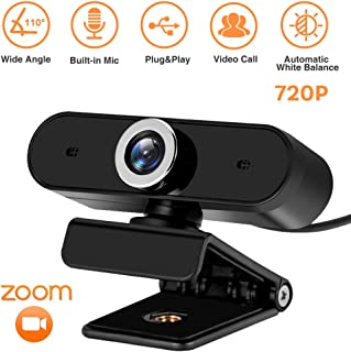 720P HD Webcam, Digital Video Live Streaming Web Camera, Built-in Dual Microphone USB Computer Camera, PC Mac Laptop Desktop Web Cam, Noise Reduction, 360 Degree Rotation for Xbox YouTube Skype