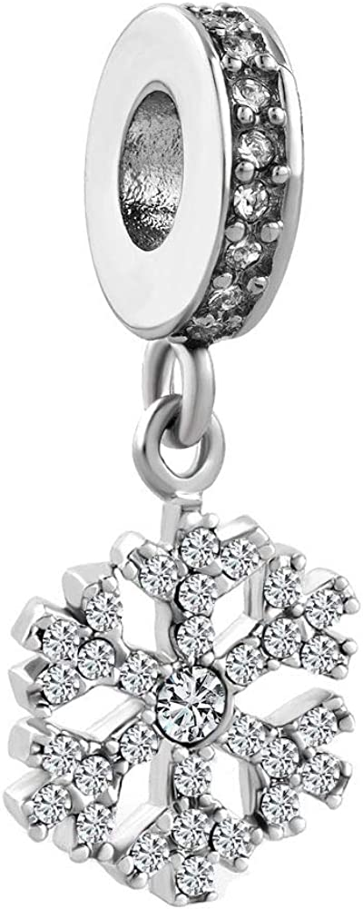 SexyMandala Snowflake Charms Dangle Clear CZ Spacer Bead fit Pandora Bracelets