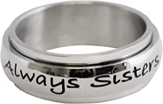 Rush Industries Always Sisters Forever Friends Spinner Ring - Sister Rings - BFF Sister Gifts - Best Friends Sister Ring