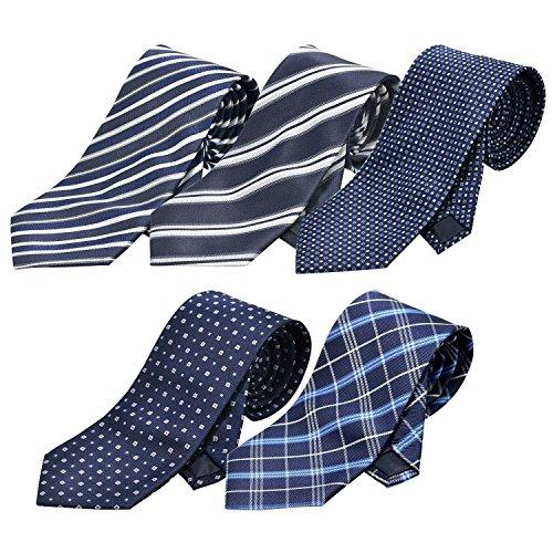[クリサンドラ] ネクタイ セット 5本 ブランド 洗える ポリエステル 洗濯 出来る ビジネス 無地 ストライプ 小紋 チェック ドット 柄 01