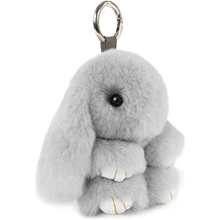 3 Colors 3 Pieces Easter Bunny Keychains Colorful Crystal Bunny Keychain Bunny Glow in The Dark Keychain for Girl Easter Rabbit Doll Pendant Car Key Chain