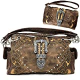 Justin West Gleaming Western Tooled Rhinestone Buckle Floral Embroidery Chain Shoulder Handbag Purse Concealed Carry (Brown handbag and wallet)