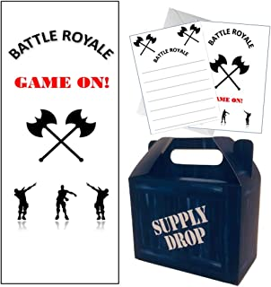 Jelda's Video Game Party Supplies - 73 Piece - Decorations for Gaming Party | Supply Drop Box - Loot - Goodie Bags for Kids Birthday Favors | Battle Gaming Invitations + Envelopes | Door Cover Banner Bundle