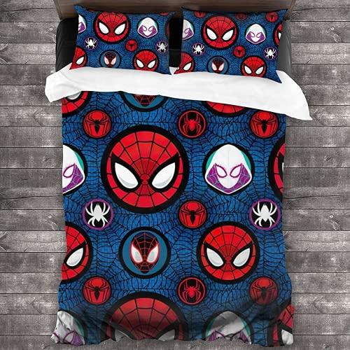 DZXWYM Spider-Man Bettbezug-Set,Spider-Man Bettwäsche-Set,Superhero Bettbezug-Set,Weich & bequem ohne Reizung, Mikrofaser,3-teiliges Set (Spider-Man-3,135X200cm+50x75cmx2)