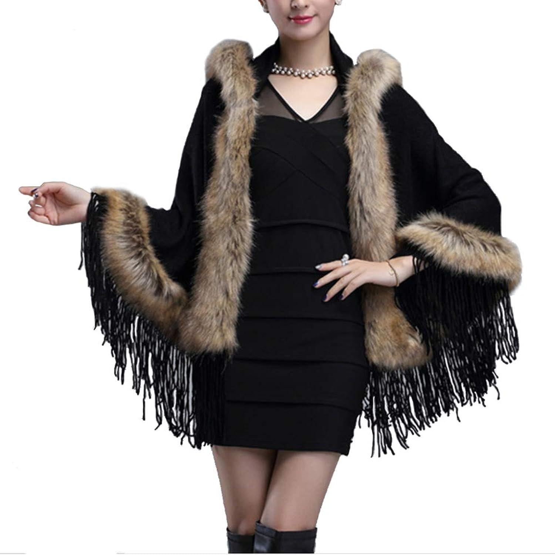LIULIFE Knit Shawl Coat Hooded Tassel Autumn Winter Women's Clothing Cape Poncho Cloak Cardigan