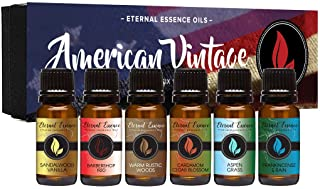American Vintage - Gift Set of 6 Premium Fragrance Oils - Sandalwood Vanilla, Frankincense & Rain, Cardamom Cedar Blossom,...