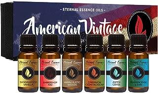 American Vintage - Gift Set of 6 Premium Fragrance Oils - Sandalwood Vanilla, Frankincense & Rain, Cardamom Cedar Blossom, Aspen Grass, Warm Rustic Woods, Barbershop 1920 - Eternal Essence Oils