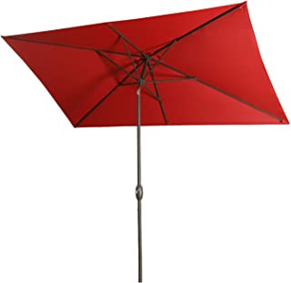 Aok Garden Outdoor Market Umbrella,10x6.5 Feet Square Patio Umbrella with Push Button Tilt and Crank Lift Ventilation,8 Sturdy Ribs Non-Fading Sunshade,Wine Red