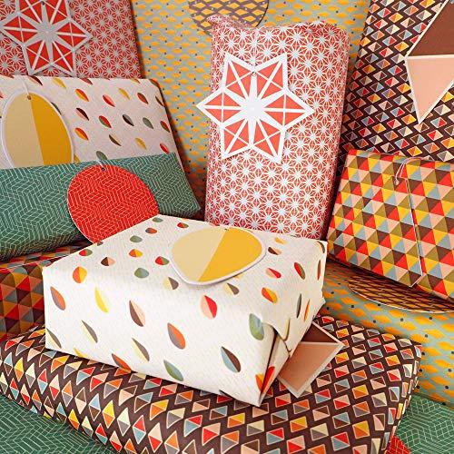 Bright Stem - Geschenkpapier gefaltet (6) Blätter und Tags Geometrische Muster Mixed Pack