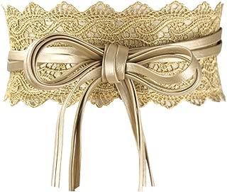 Maikun Womens Hollow Lace Wide Belt Cinch Waist Band Embroidery Obi Boho Style Christmas Wedding Dresses Valentine's Day