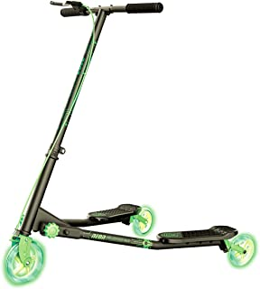 Yvolution Neon Fliker DLX | Self Propelling LED Wiggle Scooter with Light Up Wheels for Kids Age +7