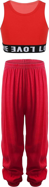 easyforever Girls Dance Outfits Tracksuit Sleeveless Hip Hop Street Dance Crop Top Yoga Pilates Sports Harem Pants Set