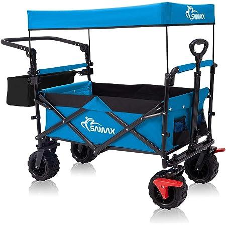 MonTr/üe Bollerwagen mit Dach Blau und Grau Faltbarer Bollerwagen mit Schubstange Handwagen mit Bremsen Transportwagen