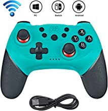 Controlador inalámbrico para Nintendo Switch/Switch Pro, Bluetooth Joystick con Doble vibración, Turbo, 6-Axis Gyro Function Gamepad Verde