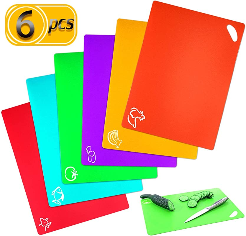 UPlama 6 Pack Extra Thick Flexible Plastic Kitchen Cutting Boards Colored Kitchen Mats With Food Icons Easy Grip Handles BPA Free Non Porous Dishwasher Safe 15 12 6 Colors