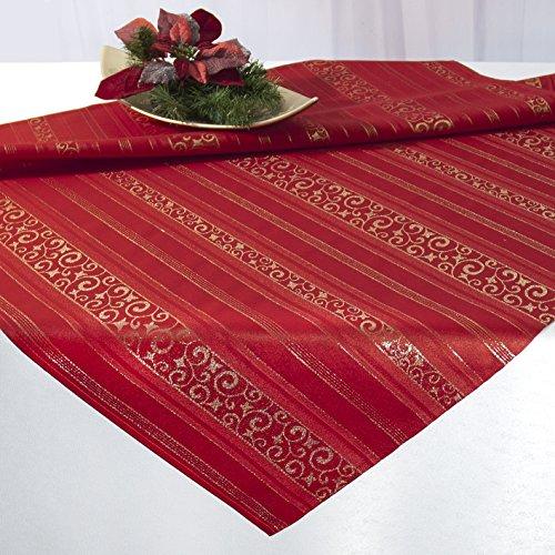 Kamaca Zauberhafte Tischdecke Magic Moments in rot mit wundervollen goldfarbenen Arabesken - EIN Schmuckstück auf jedem Tisch Advent Winter Weihnachten (rot/Gold, 85 cm x 85 cm)