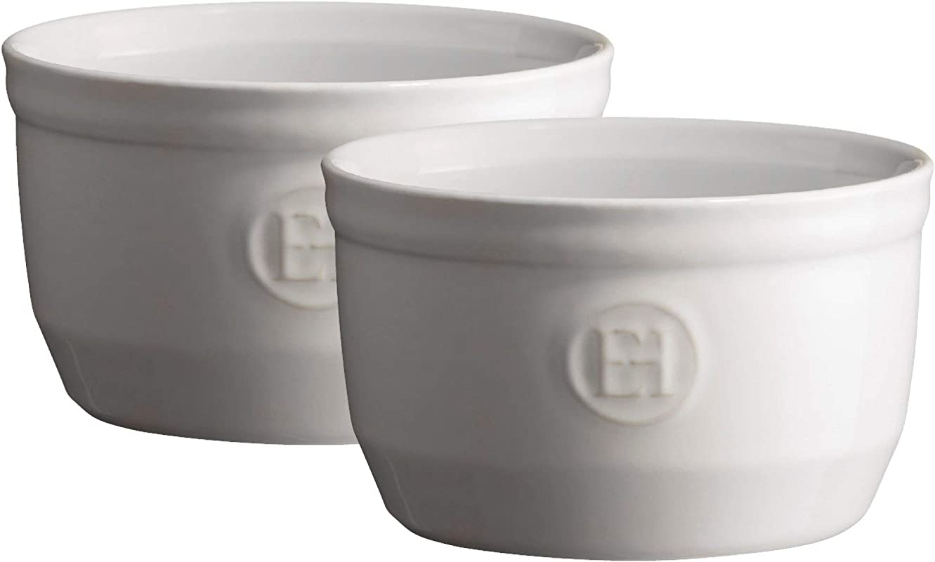 Emile Henry Made In France 8 5 Oz Ramekin Set Of 2 4 By 2 5 Flour White Renewed