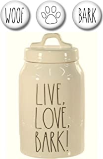 Rae Dunn LIVE LOVE BARK Dog Treats Canister with Set of 3 Woof, Bark and Paw Print Fridge Magnets Gift Set Large Letter LL Pottery