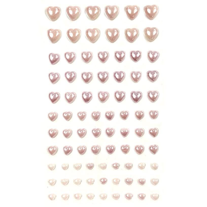 Allydrew 84 Piece Acrylic Adhesive Heart Gems, Light Pink