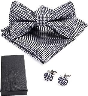 YOFASEN Hombres Conjunto de caja de Corbatas de Accesorios Pajaritas cl/ásicas a cuadros pa/ñuelos de bolsillo y gemelos para fiesta de bodas de negocios