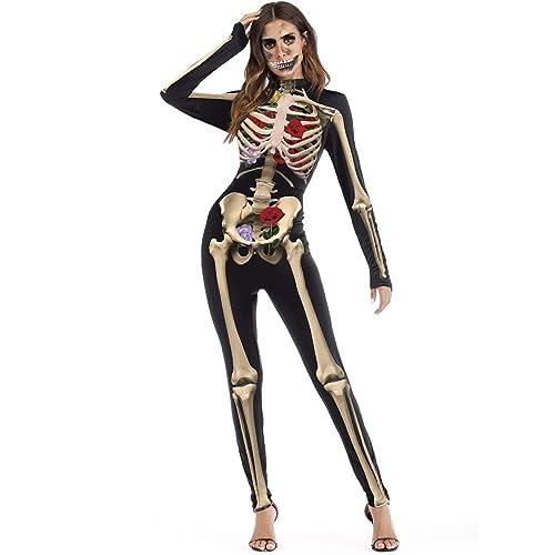 81ed4dba5f3a omufipw Costumes Girl Women Skeleton Skin Suit Bones Halloween Fancy Dress  Costume Jumpsuit