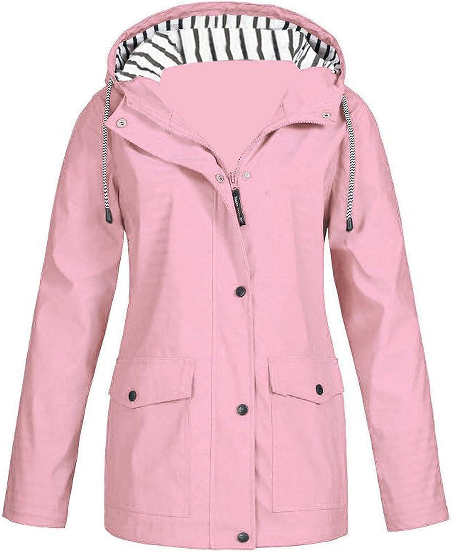 Women's Trench Rain Jacket Hoodie Coat Waterproof Outdoor Activewear Zip Up Pockets Windproof Hiking Light Jackets