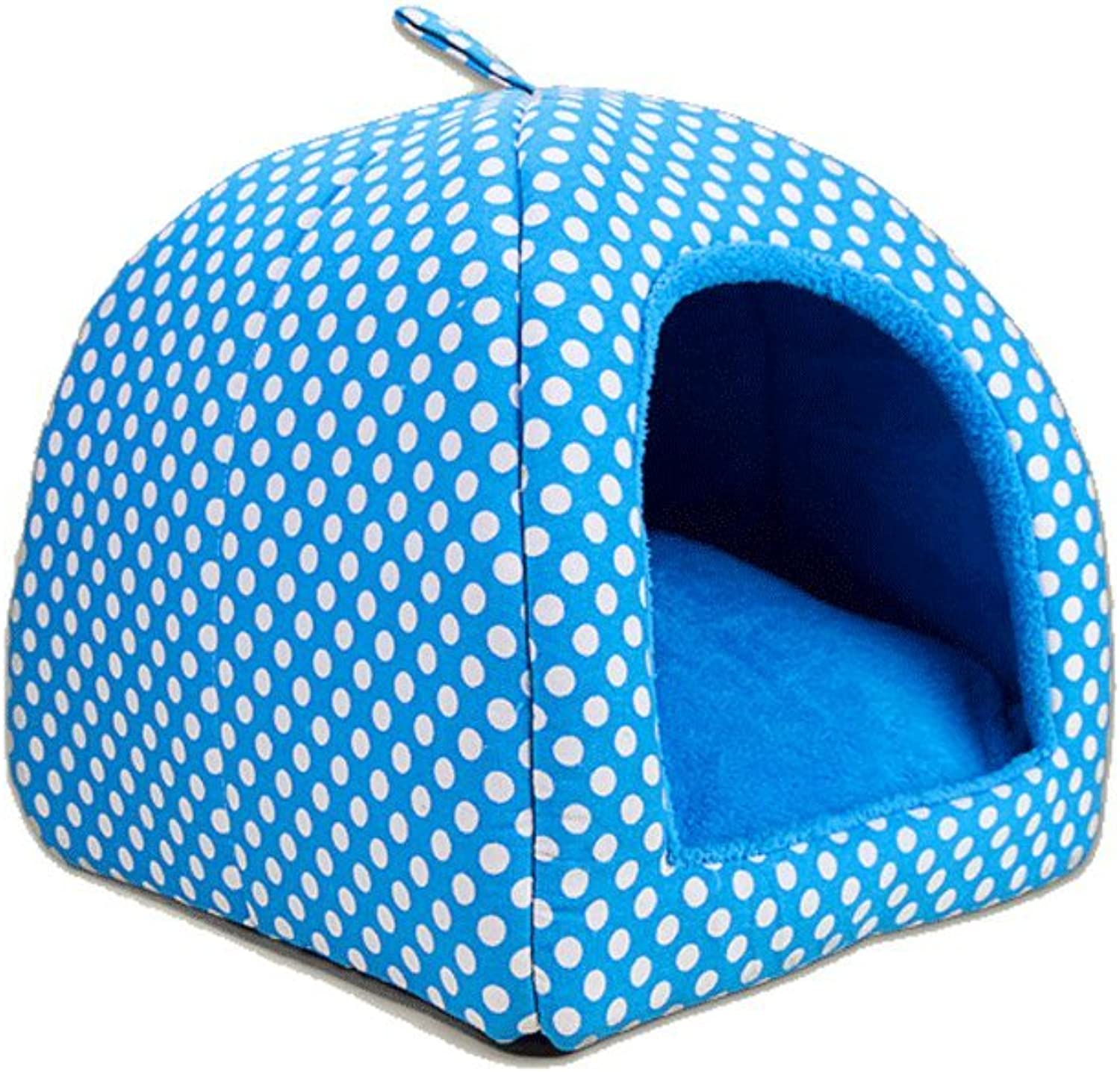 LM921 2in1 Cat Pet Bed Tunnel Fleece Tube Indoor Cushion Mat Pyramid Pad For Dog Puppy Kitten Kennel Crate Cage Shack House,Removable Small Dog Pet Nest,bluee Polka Dot Pet Tent, 3 Sizes (Size   M)