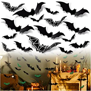 Halloween Decorations Wall Bat for Party - 84 PCS Outdoor Decor with Black & Luminous Fake Bats Stickers Party Supplies for Home Tree House Window Indoor Plastic Scary Batman Kids Trick or Treat Toys