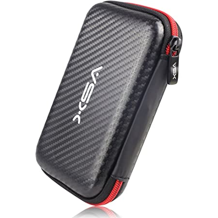 V5X 2.5インチHDD収納バッグ ポータブル収納ポーチ 外付けハードディスク保護収納ケース 撥水 防震 防塵 防衝撃 赤いと黒い