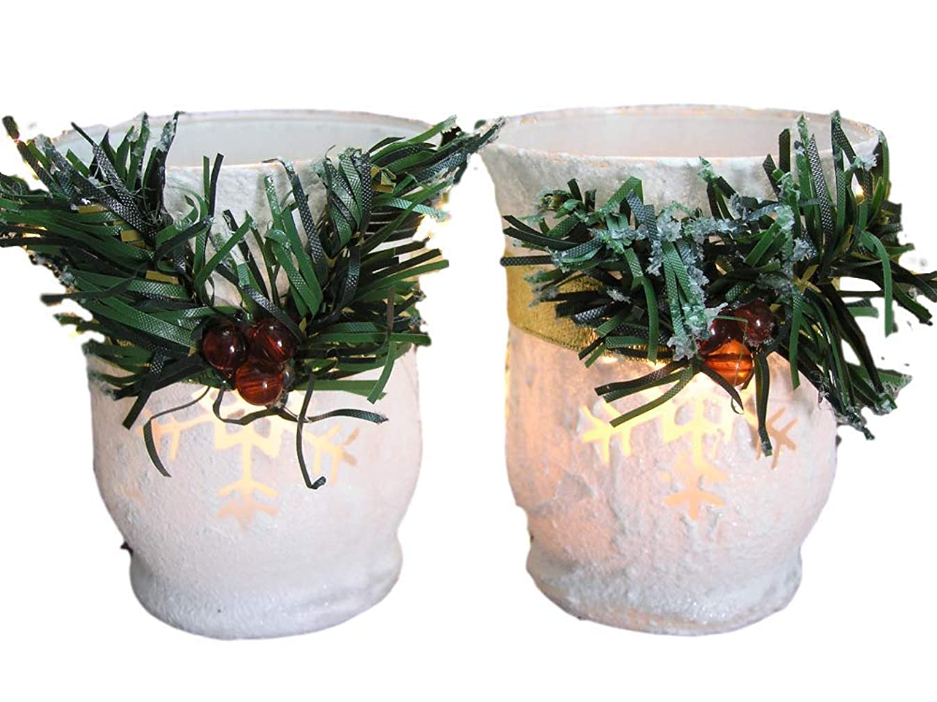 BANBERRY DESIGNS Christmas Candle Holders - Set of 2 White Glitter Votive Holders with Greenery and Berries - LED Flameless Candles Included - Christmas Centerpiece Candles
