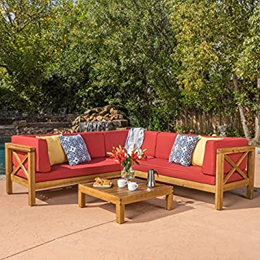 Levanto 4 Piece Outdoor X-Back Wood Sectional Set w/ Water Resistant Cushions (Red)