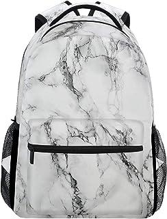 White Marble Girls Backpacks Stone Kids School Bookbags Travel Daypack Bag Purse for 3th 4th 5th Grade