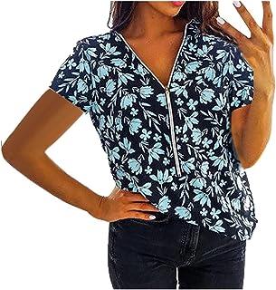 CDDKJDS White Butterfly Print T Shirts Women Zipper Ladies Plus Size Short Sleeve V-neck Pullover Shirt Spring Elegant Tee...