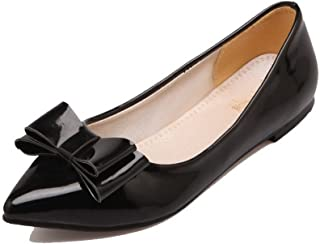VogueZone009 Women's Pull-On Pointed-Toe Low Heel Solid Pumps-Shoes