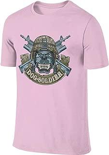 AHDDO Pink Interesting Dog Soldier with Crossing Assault Rifles Men's Short Sleeve T-Shirt