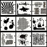 Ai-life 9 Stück Zeichenschablonen Schablonenmalerei Stencil Set Kunststoff Schablonen für Planer/Notebook/Tagebuch/Bullet Journal, Scrapbooking, Wanddekoration Karten und DIY Craft Projekte, 10x10cm