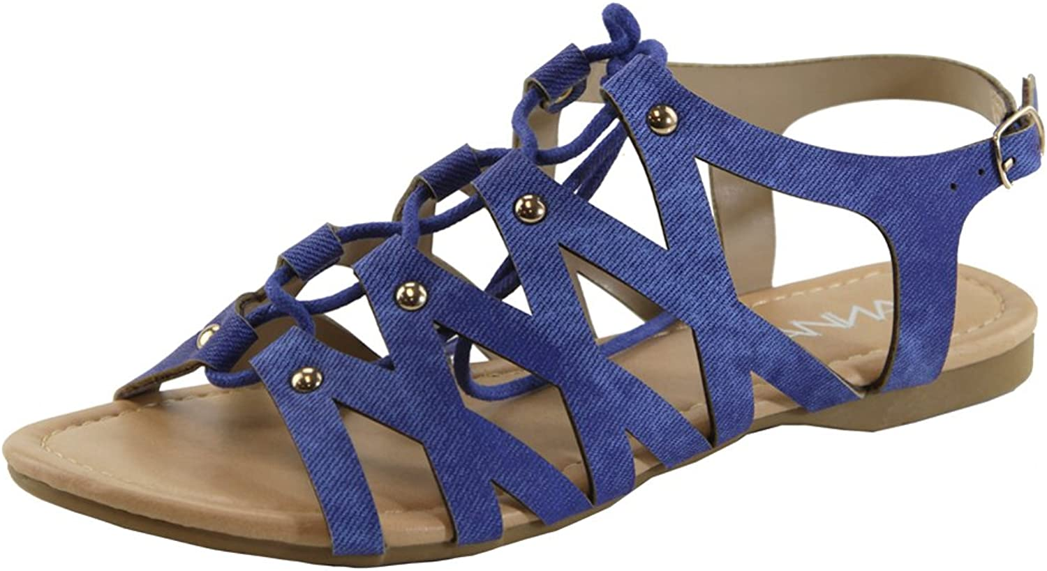 Bella Marie CHELSSI-10 Women's Lace Up Buckle Strap Gladiator Flat Sandals
