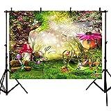 Fondo de fotos para fotografía de cuento de hadas fondo para fotografía de bosque para estudio fotografía champiñones elfos flores-3 x 2 m